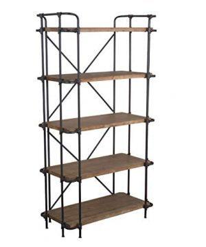 Great Deal Furniture Cobek 5 Shelf Industrial Design Solid Wood Bookcase 0 300x360