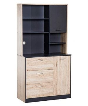 HOMCOM 67 Modern Freestanding Kitchen Buffet Cabinet With Microwave Storage Hutch Black And Oak 0 300x360