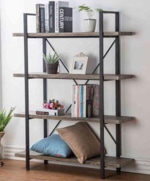 HSH Furniture 4 Shelf Vintage Industrial Bookshelf Rustic Wood And Metal Bookcase Open Wide Office Etagere Book Shelf Dark Oak 0 300x360