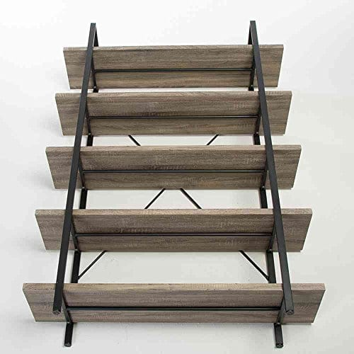HSH Furniture 5 Shelf Vintage Industrial Rustic Bookshelf Wood And Metal Bookcase Open Etagere Book Shelf Dark Oak 0 2