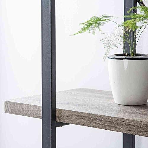 HSH Furniture 5 Shelf Vintage Industrial Rustic Bookshelf Wood And Metal Bookcase Open Etagere Book Shelf Dark Oak 0 3