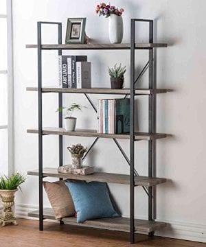 HSH Furniture 5 Shelf Vintage Industrial Rustic Bookshelf Wood And Metal Bookcase Open Etagere Book Shelf Dark Oak 0 300x360