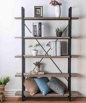 HSH Furniture 5 Shelf Vintage Industrial Rustic Bookshelf Wood And Metal Bookcase Open Etagere Book Shelf Dark Oak 0 5 300x360