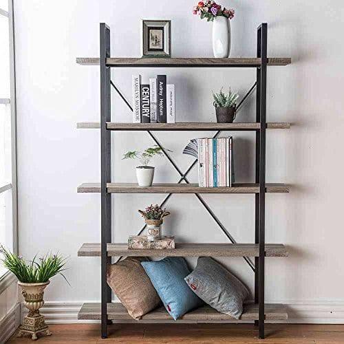 HSH Furniture 5 Shelf Vintage Industrial Rustic Bookshelf Wood And Metal Bookcase Open Etagere Book Shelf Dark Oak 0 5