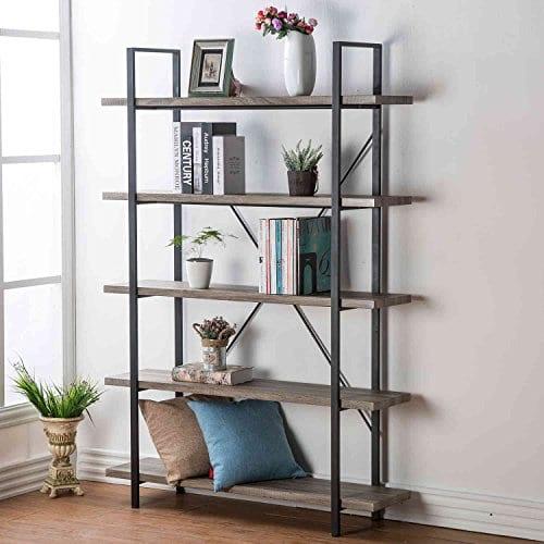 HSH Furniture 5 Shelf Vintage Industrial Rustic Bookshelf Wood And Metal Bookcase Open Etagere Book Shelf Dark Oak 0
