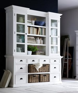 Halifax Mahogany Library Or Kitchen Hutch Cabinet With Drawers And Glass Vitrines White Distressed Finish 0 300x360