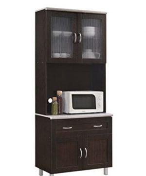 Hodedah HIK92 Choco Grey Kitchen Cabinet Chocolate 0 300x360