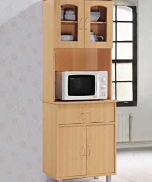 Hodedah Long Standing Kitchen Cabinet With Top Bottom Enclosed Cabinet Space One Drawer Large Open Space For Microwave Beech 0 0 300x360
