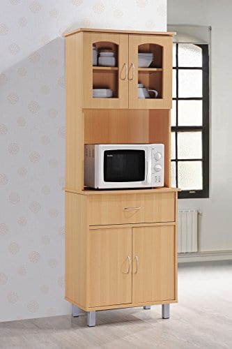 Hodedah Long Standing Kitchen Cabinet With Top Bottom Enclosed Cabinet Space One Drawer Large Open Space For Microwave Beech 0 0