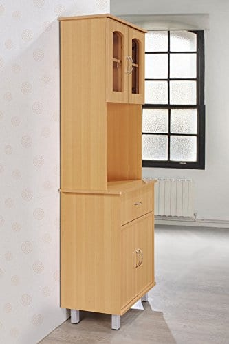 Hodedah Long Standing Kitchen Cabinet With Top Bottom Enclosed Cabinet Space One Drawer Large Open Space For Microwave Beech 0 1