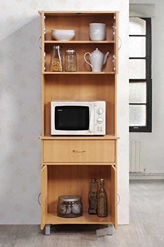 Hodedah Long Standing Kitchen Cabinet With Top Bottom Enclosed Cabinet Space One Drawer Large Open Space For Microwave Beech 0 2