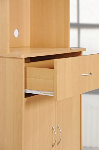 Hodedah Long Standing Kitchen Cabinet With Top Bottom Enclosed Cabinet Space One Drawer Large Open Space For Microwave Beech 0 3