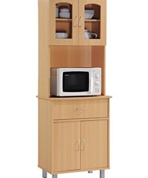 Hodedah Long Standing Kitchen Cabinet With Top Bottom Enclosed Cabinet Space One Drawer Large Open Space For Microwave Beech 0 300x360