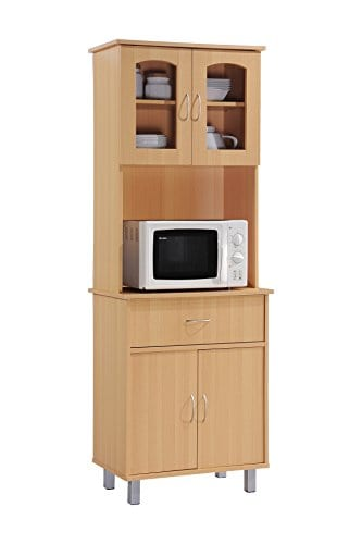 Hodedah Long Standing Kitchen Cabinet With Top Bottom Enclosed Cabinet Space One Drawer Large Open Space For Microwave Beech 0