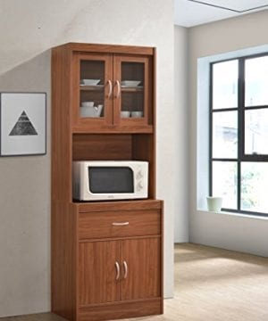 Hodedah Long Standing Kitchen Cabinet With Top Bottom Enclosed Cabinet Space One Drawer Large Open Space For Microwave Cherry 0 0 300x360