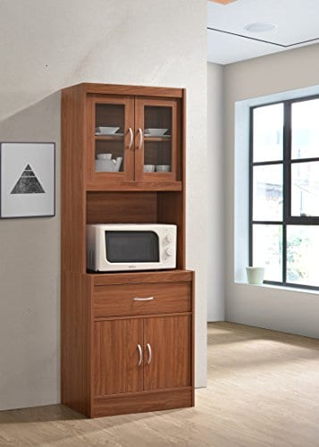 Hodedah Long Standing Kitchen Cabinet With Top Bottom Enclosed Cabinet Space One Drawer Large Open Space For Microwave Cherry 0 0