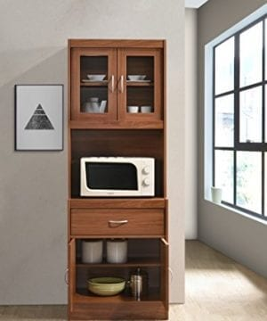 Hodedah Long Standing Kitchen Cabinet With Top Bottom Enclosed Cabinet Space One Drawer Large Open Space For Microwave Cherry 0 2 300x360