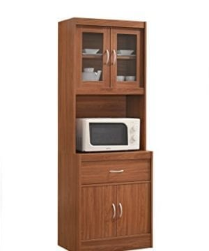 Hodedah Long Standing Kitchen Cabinet With Top Bottom Enclosed Cabinet Space One Drawer Large Open Space For Microwave Cherry 0 300x360