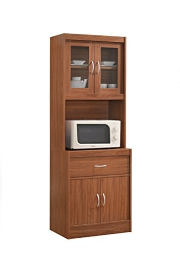 Hodedah Long Standing Kitchen Cabinet With Top Bottom Enclosed Cabinet Space One Drawer Large Open Space For Microwave Cherry 0