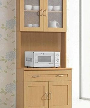 Hodedah Tall Standing Kitchen Cabinet With Top And Bottom Enclosed Cabinet Space 1 Drawer Large Open Space For Microwave In Beech 0 300x360