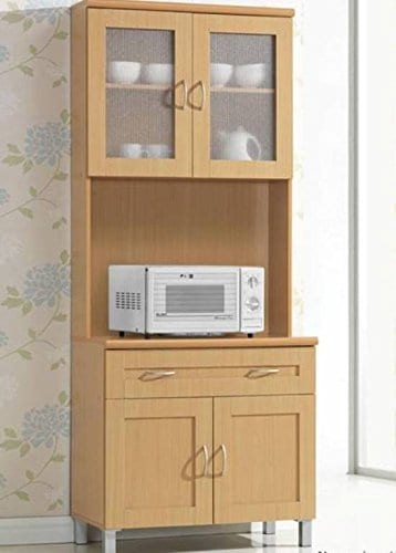 Hodedah Tall Standing Kitchen Cabinet With Top And Bottom Enclosed Cabinet Space 1 Drawer Large Open Space For Microwave In Beech 0