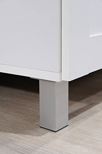 Hodedah Tall Standing Kitchen Cabinet With Top And Bottom Enclosed Cabinet Space 1 Drawer Large Open Space For Microwave In White 0 2