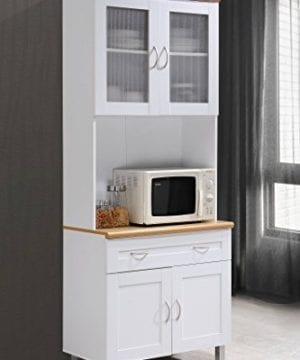 Hodedah Tall Standing Kitchen Cabinet With Top And Bottom Enclosed Cabinet Space 1 Drawer Large Open Space For Microwave In White 0 3 300x360