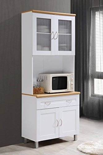 Hodedah Tall Standing Kitchen Cabinet With Top And Bottom Enclosed Cabinet Space 1 Drawer Large Open Space For Microwave In White 0 3