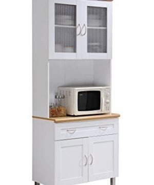 Hodedah Tall Standing Kitchen Cabinet With Top And Bottom Enclosed Cabinet Space 1 Drawer Large Open Space For Microwave In White 0 300x360