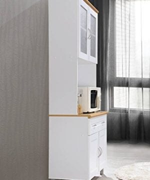 Hodedah Tall Standing Kitchen Cabinet With Top And Bottom Enclosed Cabinet Space 1 Drawer Large Open Space For Microwave In White 0 4 300x360