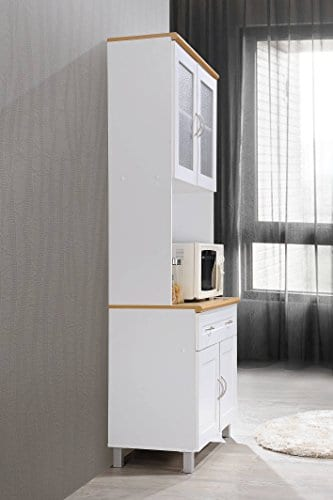 Hodedah Tall Standing Kitchen Cabinet With Top And Bottom Enclosed Cabinet Space 1 Drawer Large Open Space For Microwave In White 0 4