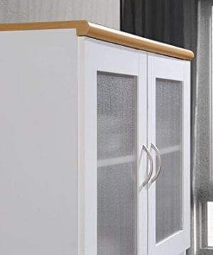 Hodedah Tall Standing Kitchen Cabinet With Top And Bottom Enclosed Cabinet Space 1 Drawer Large Open Space For Microwave In White 0 5 300x360