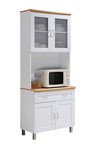 Hodedah Tall Standing Kitchen Cabinet With Top And Bottom Enclosed Cabinet Space 1 Drawer Large Open Space For Microwave In White 0