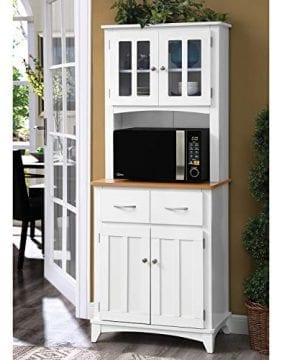 Home Source Industries Brook Tall Microwave Cabinet With 2 Drawer And An Upper And Lower Cabinet White With Cherry Wood Finish 0 300x360