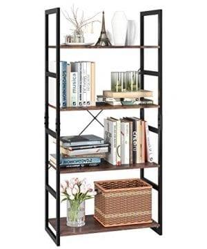 Homfa Bookshelf Rack 4 Tier Vintage Bookcase Shelf Storage Organizer Modern Wood Look Accent Metal Frame Furniture Home Office 0 300x360