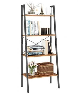 Homfa Ladder Shelf 4 Tier Vintage Bookshelf Bookcase Multifunctional Plant Flower Stand Storage Shelves Rack Wood Look Accent Metal Frame Modern Furniture Home Office 0 300x360