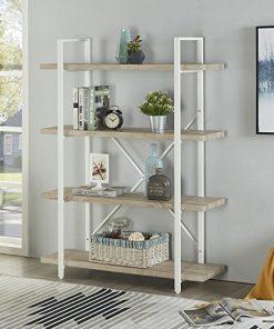 Homissue 4 Shelf Modern Style Bookshelf Light Oak Shelves And White Metal Frame Open Bookcases Furniture For Home Office 54 9 Inch Height