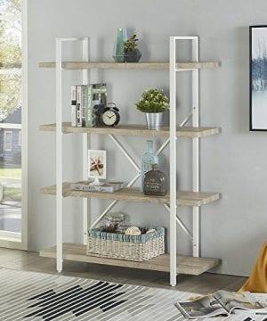 Homissue 4 Shelf Modern Style Bookshelf Light Oak Shelves And White Metal Frame Open Bookcases Furniture For Home Office 549 Height 0 0 300x360