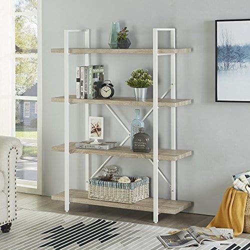 Homissue 4 Shelf Modern Style Bookshelf Light Oak Shelves And White Metal Frame Open Bookcases Furniture For Home Office 549 Height 0 0