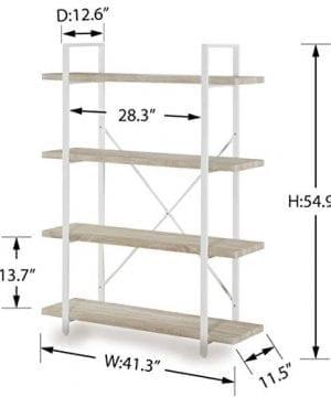 Homissue 4 Shelf Modern Style Bookshelf Light Oak Shelves And White Metal Frame Open Bookcases Furniture For Home Office 549 Height 0 3 300x360