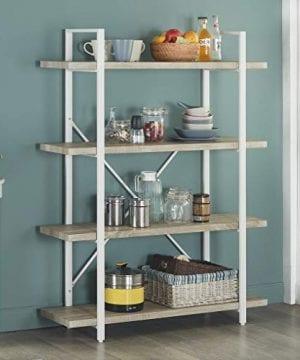 Homissue 4 Shelf Modern Style Bookshelf Light Oak Shelves And White Metal Frame Open Bookcases Furniture For Home Office 549 Height 0 300x360