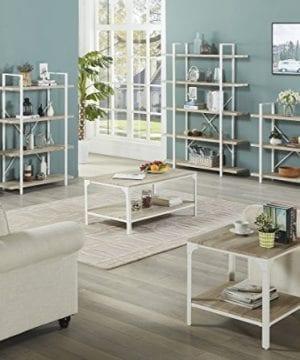 Homissue 4 Shelf Modern Style Bookshelf Light Oak Shelves And White Metal Frame Open Bookcases Furniture For Home Office 549 Height 0 4 300x360