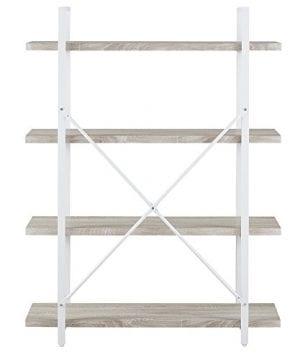 Homissue 4 Shelf Modern Style Bookshelf Light Oak Shelves And White Metal Frame Open Bookcases Furniture For Home Office 549 Height 0 5 300x360