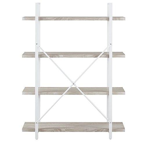 Homissue 4 Shelf Modern Style Bookshelf Light Oak Shelves And White Metal Frame Open Bookcases Furniture For Home Office 549 Height 0 5