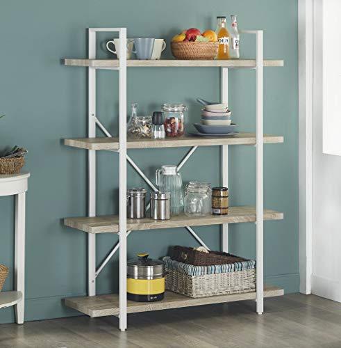 Homissue 4 Shelf Modern Style Bookshelf Light Oak Shelves And White Metal Frame Open Bookcases Furniture For Home Office 549 Height 0