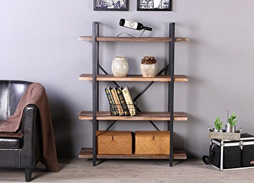 Homissue 4 Tier Industrial Style Bookshelf Wood And Metal Bookcases Furniture For Collection Retro Brown 0 3