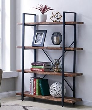 Homissue 4 Tier Industrial Style Bookshelf Wood And Metal Bookcases Furniture For Collection Retro Brown 0 300x360