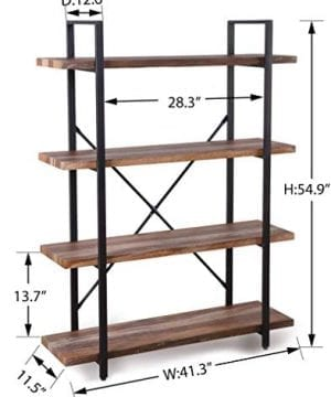 Homissue 4 Tier Industrial Style Bookshelf Wood And Metal Bookcases Furniture For Collection Retro Brown 0 4 300x360