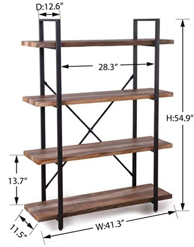 Homissue 4 Tier Industrial Style Bookshelf Wood And Metal Bookcases Furniture For Collection Retro Brown 0 4