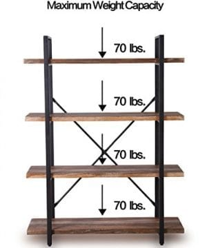 Homissue 4 Tier Industrial Style Bookshelf Wood And Metal Bookcases Furniture For Collection Retro Brown 0 5 300x360